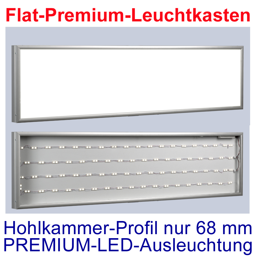 premium flat led leuchtkasten 2000 500mm t 68mm leuchtwerbung ebay. Black Bedroom Furniture Sets. Home Design Ideas